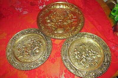 Lot of 3 large Vintage Brass/Tin plates, wall hangings,  England  home decor