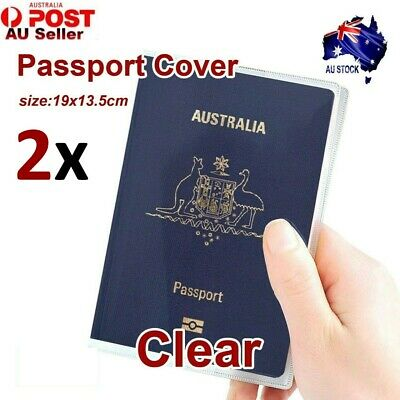2x Clear Transparent Passport Cover Protector Travel Holder Organiser Wallet