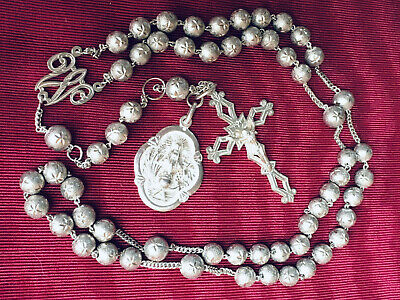 Antique French Solid Silver Catholic Rosary,Necklace,Pendant Cross & Medal