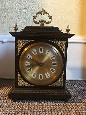 Vintage Weimar Mahogany And Brass Mantle Clock. Working