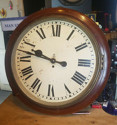 Vintage Rare Huge Antique GPO / Factory Wooden Mahogany ?? Wall Clock