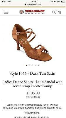 "Supadance 1066 Latin Tan Satin Dance Heels UK 5.5 3 2.5"" Inch Shoes"