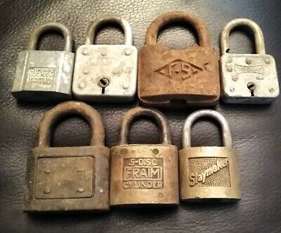 Lot Of 7 Vintage Miscellaneous Padlock Locks F-S Master Fraim Yale Ect. No Keys