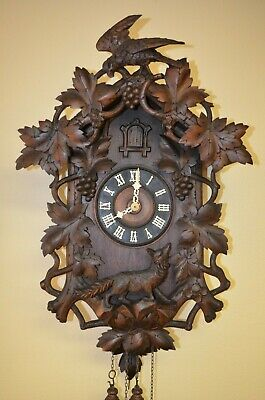 ANTIQUE GERMAN  BLACK FOREST GHS CUCKOO CLOCK WITH EAGLE AND FOX late 1800's