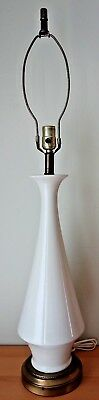 Vintage Mid Century Tall White Ceramic Table Lamp w Elegant Elongated Neck