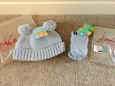 Joules Pom Knitted Pom Pom Hat in SKY BLUE Size 0-6 Months, Mittens 6-12 Months
