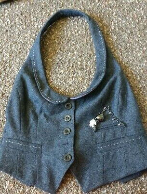 Ladies/Older Girls RIVER ISLAND Grey Waistcoat/Gilet/Vest Size 8 wool blend
