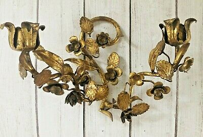 S Salvadori Italy Mid Century Gold Gilt Sconce Candle Holder Hollywood Regency
