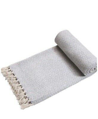 Handwoven Single Sofa/ Bed Throw In Grey/Natural 125cm X 150cm Brand New