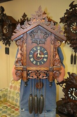 ANTIQUE GERMAN RARE QUAIL TRAIN STYLE CUCKOO CLOCK LATE 1800'S early 1900's