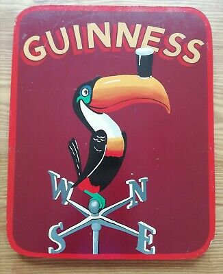 Vintage Handpainted Pub Sign with Guinness toucan retro antique bar