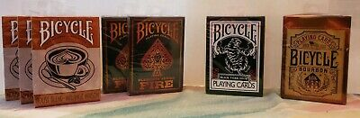 New 7 Bicycle Card Lot - Black Tiger Fire Bourbon House Blend Playing Deck Magic