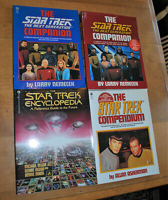 Orig & Star Trek Next Generation Compendium Companion Encyclopedia Book Lot Of 4