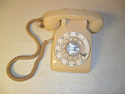 vntage bell system western electric beige rotary dial desk telephone