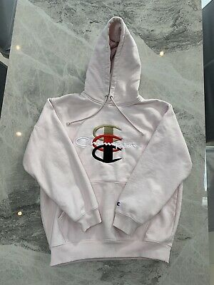 Details about Supreme x Champion Pink Stacked Logo Hoodie XL
