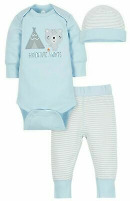 0-3 Month Baby Boy Clothes Blue 3 Piece Outfit Set Wonder Nation By Gerber New