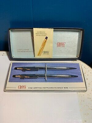Vintage Cross 3501 Chrome Pen And Pencil Set New ~ SHIPS FREE!