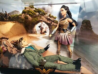 "Wonder Woman & Steve Trevor 12"" Barbie Doll Gift Set, WW Movie - Mattel 2017"