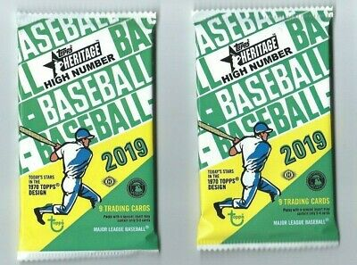 2019 TOPPS HERITAGE HIGH NUMBER BASEBALL 2 Pack Hobby 9 Cards per Pack