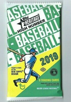 2019 TOPPS HERITAGE HIGH NUMBER BASEBALL 1 Pack Hobby 9 Cards per Pack