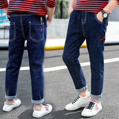 IENENS Kids Boy Jeans Fashion Denim Pants Clothes Youth Boy Solid Long Trousers