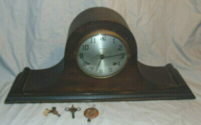 Antique Waterbury Tambour Humpback Mantel Clock w/ Key & Pendulum P/R