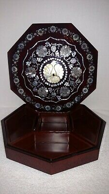 """Oriental Laquer Inlaid Mother Of Pearl Octagon Shaped Box 9.5"""""""