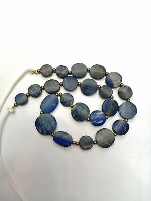 Ancient Egypt Style BRIGHT BLUE Lapis w/Pyrite Carved Coin Beads RARE Vintage