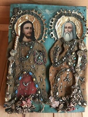 "Antique 19c Russian Orthod Hand Painted Wood Icon ""The Holy Trinity"""
