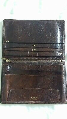 large brown calf leather wallet 1940s 1950s