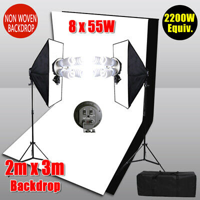 2X3M Black White Backdrop Photo Studio Softbox Lighting Soft Box Light Stand Kit