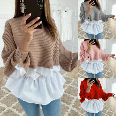 UK Womens Frill T-Shirt Ladies Stitching Puff Long Sleeve Casual Blouse Tops