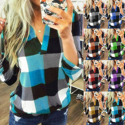UK Womens Long Sleeve Plaid Check T Shirt Ladies V Neck Tops Blouse Plus Size