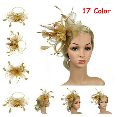 Vintage Fascinator Hair Clip Women Feather Mult Color Party Hairwear Accessories