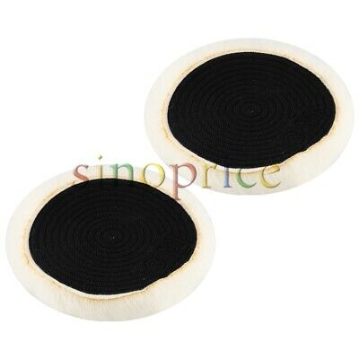 Pure Wool Polishing Buffing Pad for Cars 6 Inch 15cm Diameter Set of 2