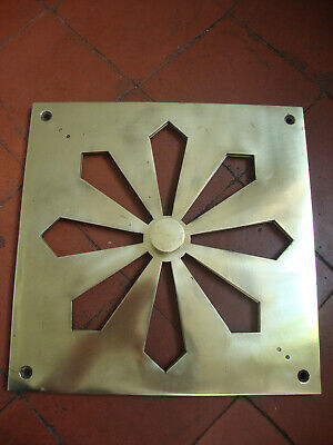 Superb very large antique sun burst heavy solid brass hit and miss air vent