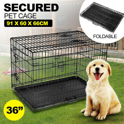 "36"" Inch i.Pet Pet Dog Cage Kennel Cat Collapsible Metal Crate Cages Black"