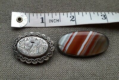 2x Victorian Edwardian Vintage Antique Brooches Silver Agate