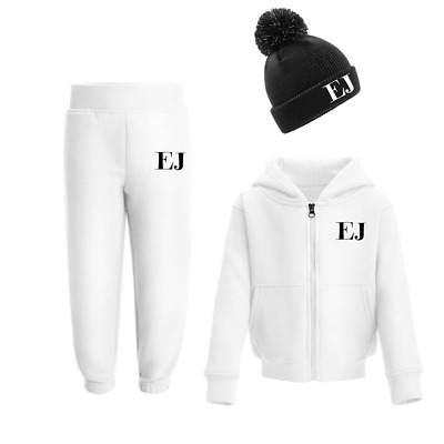 Personalised Initials Tracksuit and Beanie Set Winter Girls Boys Set