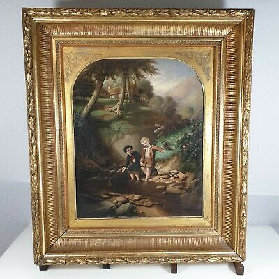 Antique 19th Century Oil Canvas 2 Boys Playing In A Stream Signed J. Black 1863