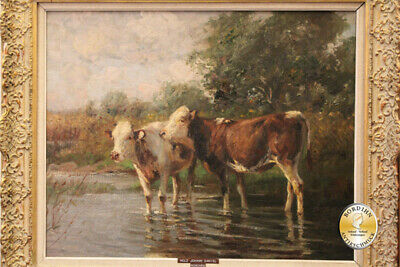 Oil Painting Johann Daniel Wood Oil on Canvas Cows at Water Painting