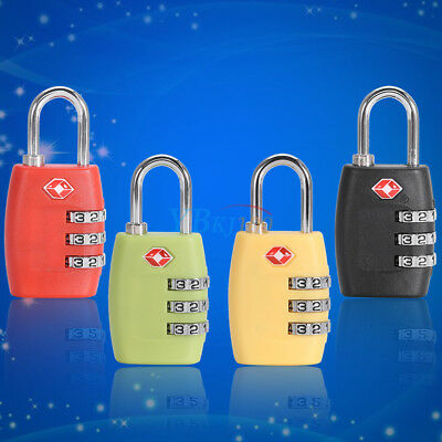TSA Resettable Travel Luggage Suitcase Padlock 3-Digit Combination Gear Lock  !