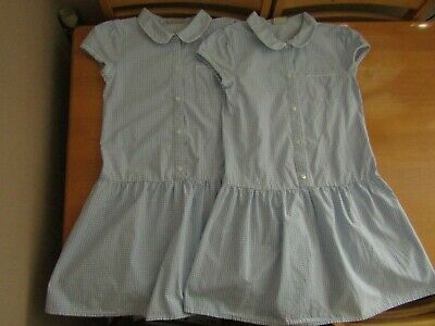 2 Next Girls Blue Gingham Checked Cotton Mix School Dress Uniform - Age 11 Years