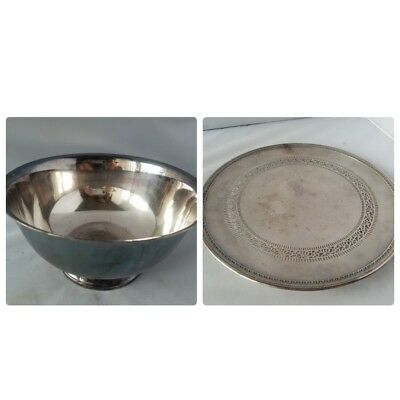 Wilcox SIlver Bowl Mixing Serving & Meriden S.P. Co Silver Plate Platter Vintage
