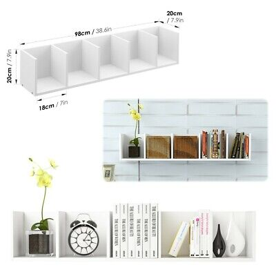 Bookshelf Floating Wall Shelves Storage Display Shelf White With 5 Compartments