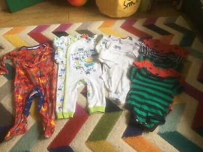 Bundle Of Sleepsuits Pyjamas Vests 9-12 Months Boys