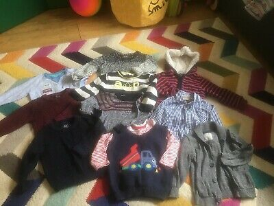 Lovely Large Bundle Of Jumpers Tops Cardigan Shirt Boys 9-12 Months Winter