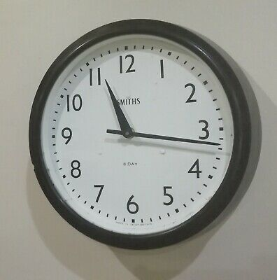 Vintage SMITHS 8-day Office Dial Wall Clock Bakelite case battery mechanism