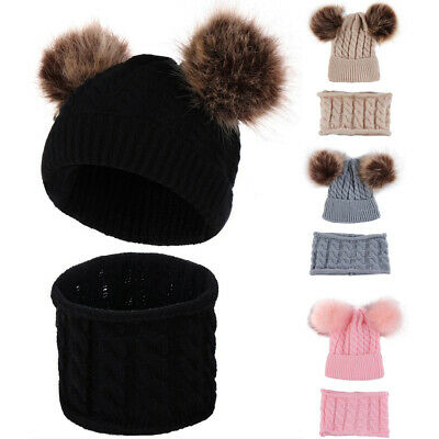 2PCS Baby Boys Girls Hat and Scarf Toddler Cap with Scarf knitting Cotton Set UK