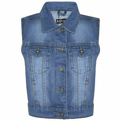 Kids Girls Denim Mid Blue Jacket Faded Jeans Gilet Sleeveless School Jacket Coat